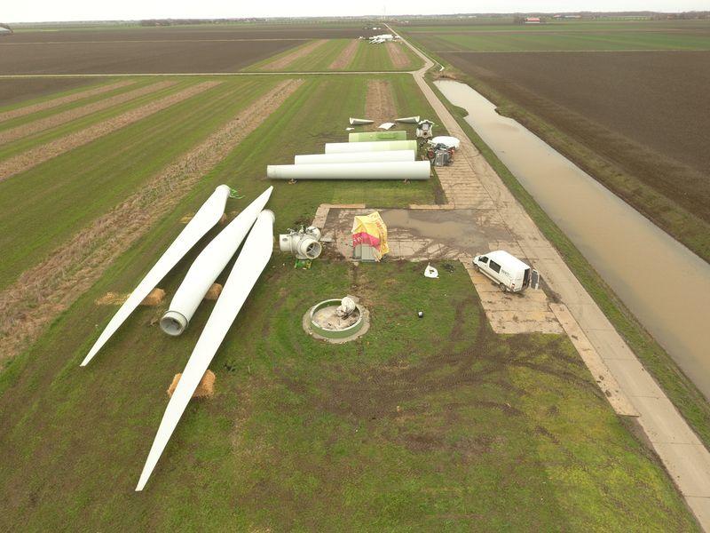 Alle turbines Windpark Samen Voor de Wind ontmanteld