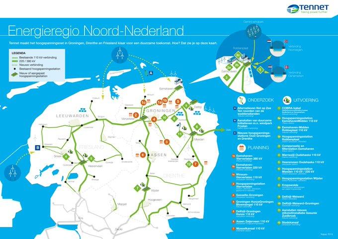 TenneT investeert extra € 215 miljoen in hoogspanningsnet Noord-Nederland