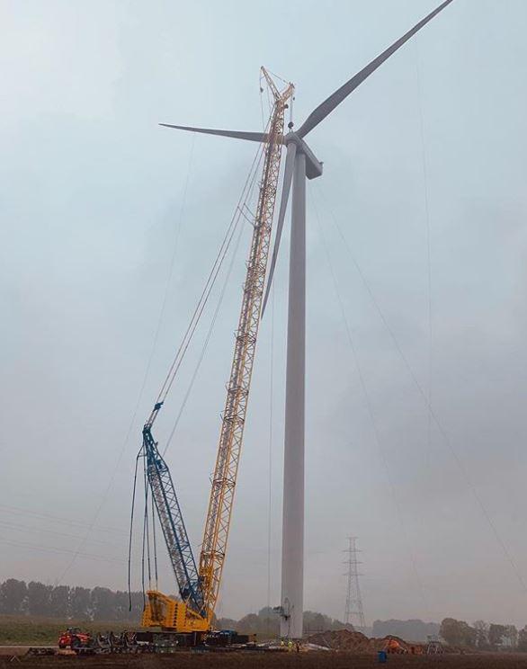 Eerste windturbine in Windpark Kabeljauwbeek is geïnstalleerd