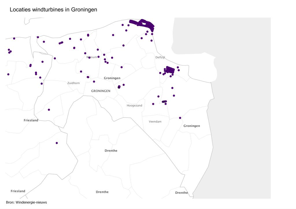 Kaart locaties Groningen