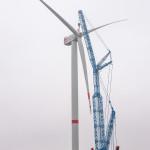 Senvion 6 MW offshore (rotordiameter 152m) windturbine gaat draaien