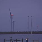 Verlichting windmolens Windpark Prinses Alexia gaan vast (ipv knipperend) branden