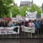Protest tegen windturbines in Den Haag