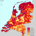 Kaart gemiddelde windsnelheden in NL