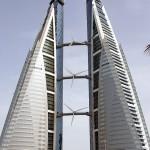 Wolkenkrabber met windmolens in Bahrein verkeerd om